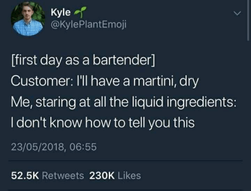 How To, All The, and How: Kyle  @KylePlantEmoji  [first day as a bartender]  Customer: I'll have a martini, dry  Me, staring at all the liquid ingredients:  I don't know how to tell you this  23/05/2018, 06:55  52.5K Retweets 230K Likes