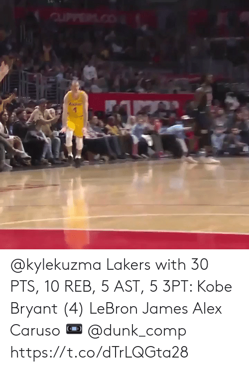 LeBron James: @kylekuzma Lakers with 30 PTS, 10 REB, 5 AST, 5 3PT:   Kobe Bryant (4)  LeBron James  Alex Caruso   ? @dunk_comp    https://t.co/dTrLQGta28
