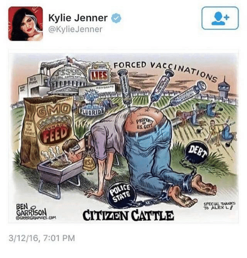Kylie Jenner, Nato, and Dank Memes: Kylie Jenner  @KylieJenner  , FORCED VAC  UES  NATO  ONS  UORIDE  US. G  EED  DEB  SPECIAL THANKS  To ALEX  BEN  GARRISON  OGRRRGRAPHICS.COM  CARASORCITVZEN CATTLE  3/12/16, 7:01 PM