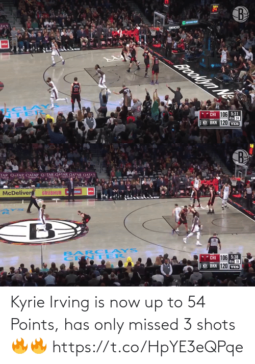 shots: Kyrie Irving is now up to 54 Points, has only missed 3 shots🔥🔥 https://t.co/HpYE3eQPqe