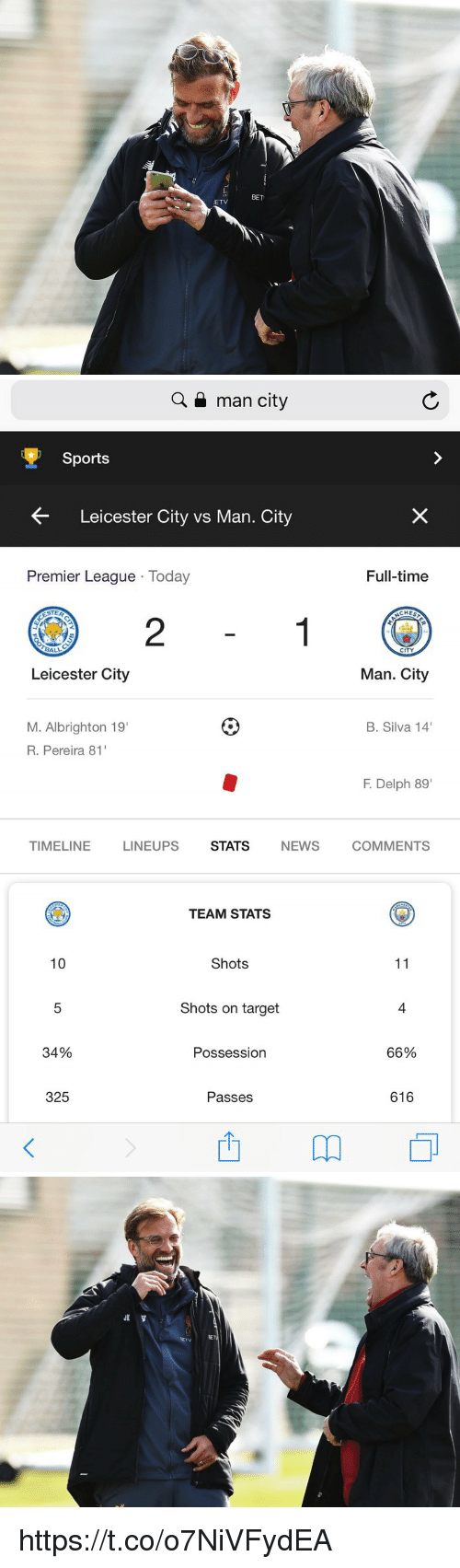 "Leicester City: L.  125  BET  ETV   Q a man city  Sports  Leicester City vs Man. City  Premier League Today  Full-time  CHES  2  CITY  Leicester City  Man. City  M. Albrighton 19  R. Pereira 81  B. Silva 14  F. Delph 89""  TIMELINE  LINEUPS  STATS  NEWS  COMMENTS  TEAM STATS  10  Shots  Shots on target  4  34%  Possession  66%  325  Passes  616 https://t.co/o7NiVFydEA"