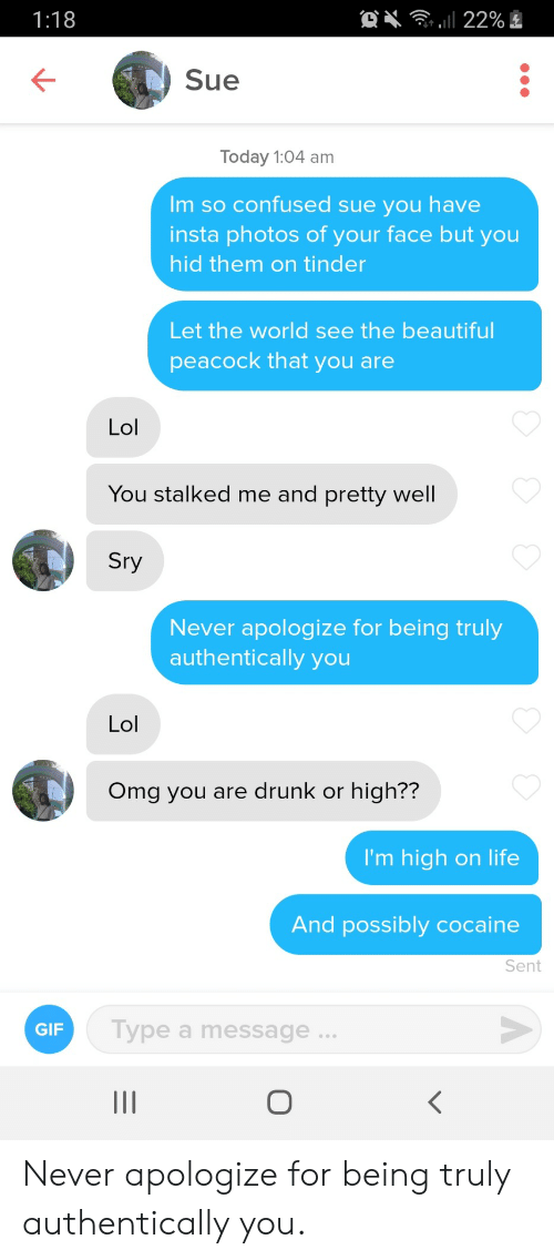 Beautiful, Confused, and Drunk: l 22%  1:18  Sue  Today 1:04 am  Im so confused sue you have  insta photos of your face but you  hid them on tinder  Let the world see the beautiful  peacock that you are  Lol  You stalked me and pretty well  Sry  Never apologize for being truly  authentically you  Lol  Omg you are drunk or high??  I'm high on life  And possibly cocaine  Sent  Type a message..  GIF  O Never apologize for being truly authentically you.