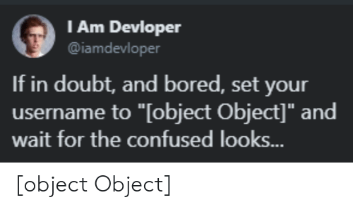 """Bored, Confused, and Doubt: l Am Devloper  @iamdevloper  If in doubt, and bored, set your  username to """"[object Object]"""" and  wait for the confused looks.. [object Object]"""