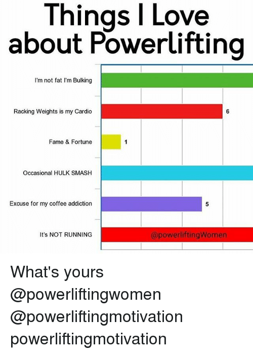 Im Not Fat: l Love  Things about Powerlifting  I'm not fat I'm Bulking  Racking Weights is my Cardio  Fame & Fortune  Occasional HULK SMASH  Excuse for my coffee addiction  apowerliftingWomen  It's NOT RUNNING What's yours @powerliftingwomen @powerliftingmotivation powerliftingmotivation