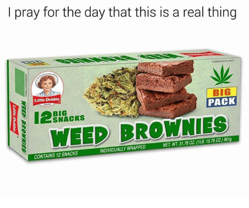 Memes, Weed, and 🤖: l pray for the day that this is a real thing  业  Little Debbie  BIG  PACK  BIG  SNACKS  I WEED BROWNIES  NDIVIDUALLY WRAPPED  NET. WT.31.78 OZ (1LB. 15780Z)901g  CONTAINS 12 SNACKS