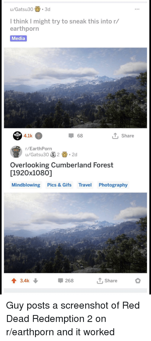 Gifs, Photography, and Travel: l think I might try to sneak this into r/  earthporrn  Media  .1k  Share  68  r/EarthPorn  u/Gatsu30 2.2d  Overlooking Cumberland Forest  [1920x1080)]  Mindblowing Pics & Gifs Travel Photography  t 3.4k  268  ,Share