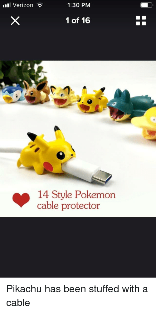 Pikachu, Pokemon, and Verizon: l Verizon ?  1:30 PM  1 of 16  14 Style Pokemon  cable protector