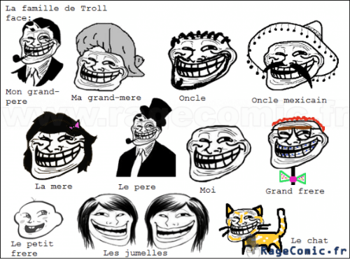 troll face: La famille de Troll  face  Mon grand  Ma grand-mere  pere  La mere  Le pere  Le petit  Les jumelles  frere  Oncle  Moi  Oncle mexicain  Grand frere  Le chat  TRNA econ ic.fr