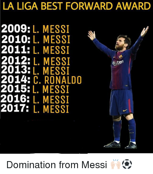 Memes, Best, and La Liga: LA LIGA BEST FORWARD AWARD  2009:L. MESSI  2010: L. MESSI  2011: L. MESSI  2012: L. MESSI  2013:L. MESSI  2014: C. RONALD0  2015:L. MESSI  2016: L. MESSI  2017: L. MESSI  kuten Domination from Messi 🙌🏻⚽️