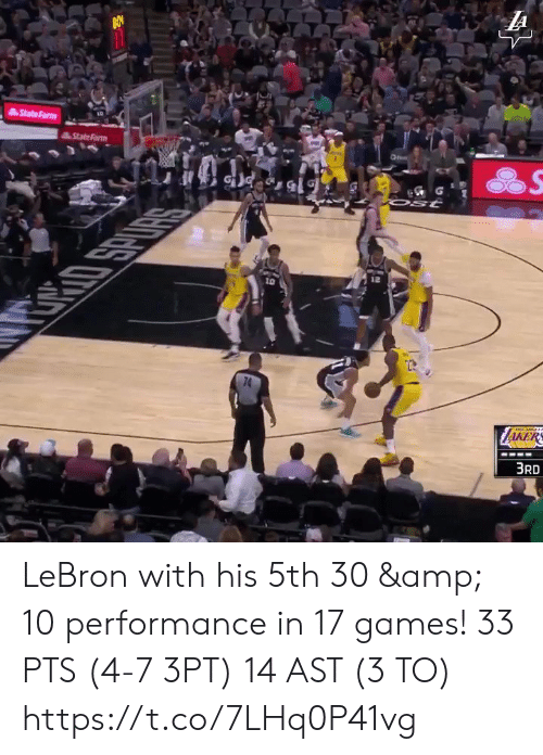 ast: LA  State Farm  StateFarm  Ost  10  RRIO SPURS  74  ZAKERS  3RD LeBron with his 5th 30 & 10 performance in 17 games!   33 PTS (4-7 3PT) 14 AST (3 TO)  https://t.co/7LHq0P41vg