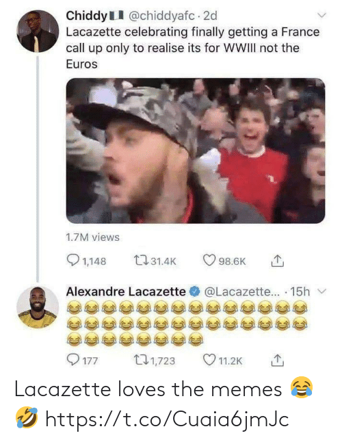 loves: Lacazette loves the memes 😂🤣 https://t.co/Cuaia6jmJc