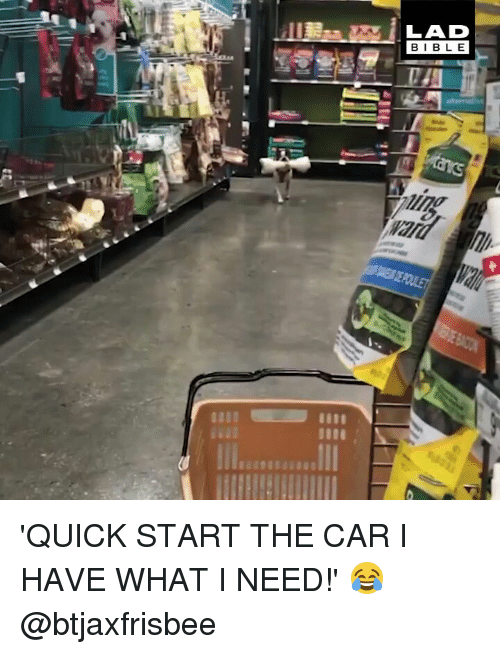 Memes, 🤖, and Car: LAD  BIBL E 'QUICK START THE CAR I HAVE WHAT I NEED!' 😂 @btjaxfrisbee