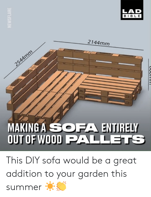 Dank, Summer, and Bible: LAD  BIBLE  2144mm  MAKING A SOFA ENTIRELY  OUT OF WOOD PALLETS This DIY sofa would be a great addition to your garden this summer ☀️👏