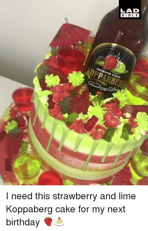 cider: LAD  BIBLE  PREMIUM CIDER I need this strawberry and lime Koppaberg cake for my next birthday 🍓🍰
