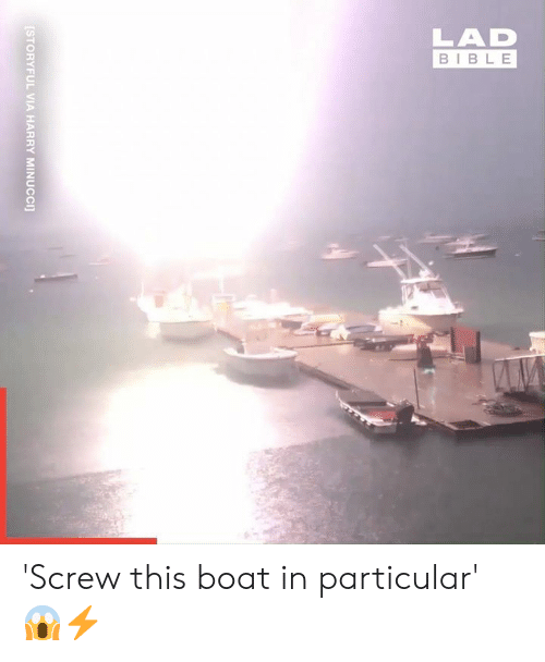 Dank, Bible, and Boat: LAD  BIBLE  STORYFUL VIA HARRY MINUCCI] 'Screw this boat in particular' 😱⚡
