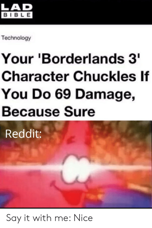 Lad Bible: LAD  BIBLE  Technology  Your 'Borderlands 3  Character Chuckles If  You Do 69 Damage,  Because Sure  Reddit: Say it with me: Nice