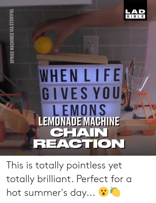 Dank, Bible, and Brilliant: LAD  BIBLE  WHENLIFE  GIVES YOU  LEMONS  LEMONADE MACHINE  CHAI  REACTION This is totally pointless yet totally brilliant. Perfect for a hot summer's day... 😮🍋