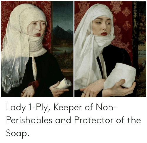 keeper: Lady 1-Ply, Keeper of Non-Perishables and Protector of the Soap.