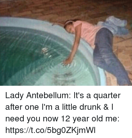 Drunk, Lady Antebellum, and Girl Memes: Lady Antebellum: It's a quarter after one I'm a little drunk & I need you now   12 year old me: https://t.co/5bg0ZKjmWl