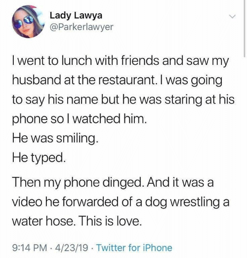 Typed: Lady Lawya  @Parkerlawyer  Iwent to lunch with friends and saw my  husband at the restaurant. I was going  to say his name but he was staring at his  phone so I watched him.  He was smiling.  He typed  Then my phone dinged. And it was a  video he forwarded of a dog wrestling a  water hose. This is love.  9:14 PM 4/23/19 Twitter for iPhone
