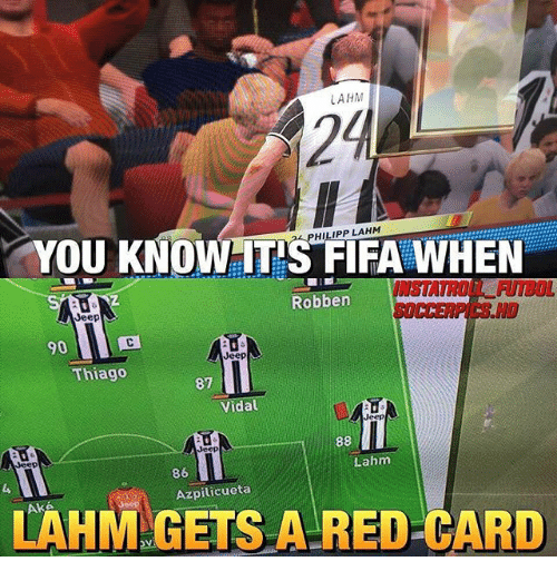red card: LAHM  24  YOU KNOW IT'S FIFA WHEN  PHILIPP LAHM  INSTATROE FUTBOL  14수41  SOCCERPICS H  Robben  90  Jeep  Thiago  87  Vidal  Jeep  Jeep  Jeep  Lahm  86  Azpilicueta  LAHM GETS A RED CARD