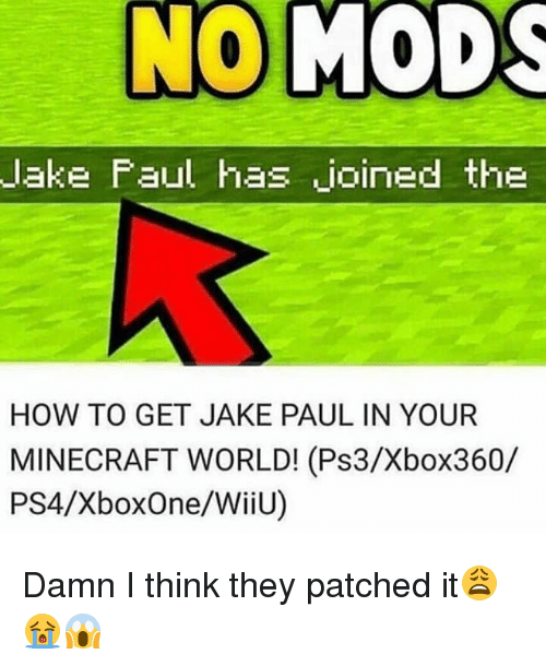 Jakes: lake Faul has joined the  HOW TO GET JAKE PAUL IN YOUR  MINECRAFT WORLD! (Ps3/Xbox360/  PS4/XboxOne/WiiU) Damn I think they patched it😩😭😱