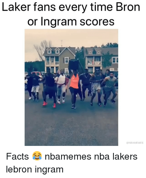 Basketball, Facts, and Los Angeles Lakers: Laker fans every time Bron  or Ingram scores  ONBAMEMES Facts 😂 nbamemes nba lakers lebron ingram