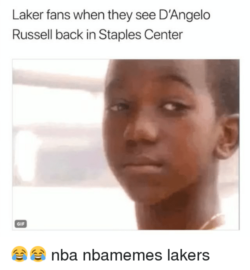 Basketball, Gif, and Los Angeles Lakers: Laker fans when they see D'Angelo  Russell back in Staples Center  GIF 😂😂 nba nbamemes lakers