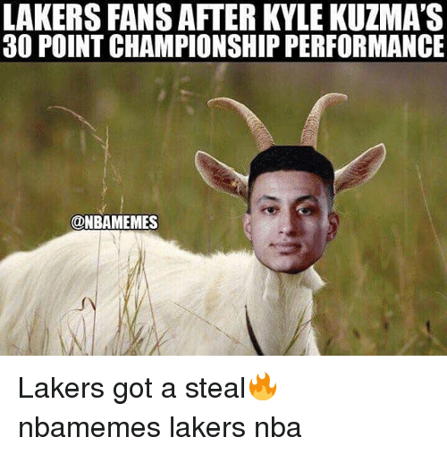 Kylee: LAKERS FANS AFTER KYLE KUZMA'S  30 POINT CHAMPIONSHIP PERFORMANCE  @NBAMEMES Lakers got a steal🔥 nbamemes lakers nba