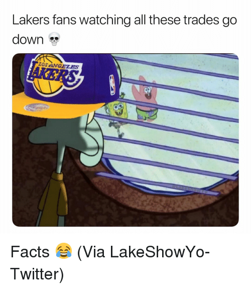 Basketball, Facts, and Los Angeles Lakers: Lakers fans watching all these trades go  down  OS ANGELES Facts 😂 (Via LakeShowYo-Twitter)