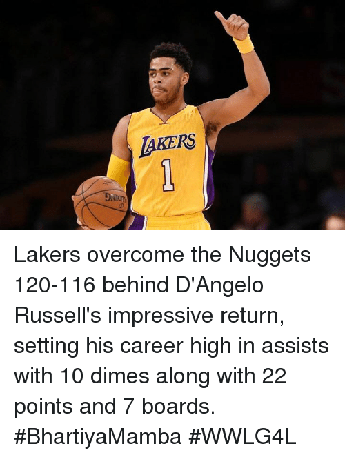overcomer: LAKERS Lakers overcome the Nuggets 120-116 behind D'Angelo Russell's impressive return, setting his career high in assists with 10 dimes along with 22 points and 7 boards.  #BhartiyaMamba #WWLG4L