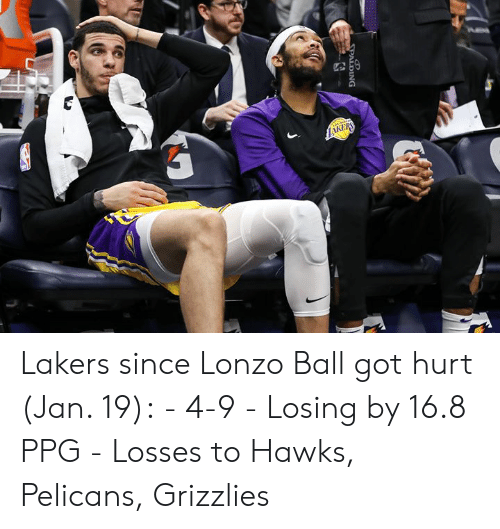 Memphis Grizzlies, Los Angeles Lakers, and Hawks: Lakers since Lonzo Ball got hurt (Jan. 19):  - 4-9 - Losing by 16.8 PPG - Losses to Hawks, Pelicans, Grizzlies