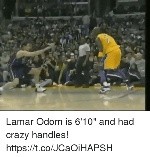"""Crazy, Lamar Odom, and Memes: Lamar Odom is 6'10"""" and had crazy handles! https://t.co/JCaOiHAPSH"""