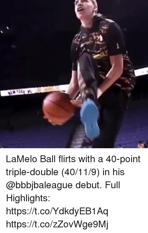 Memes, 🤖, and Double: LaMelo Ball flirts with a 40-point triple-double (40/11/9) in his @bbbjbaleague debut.  Full Highlights: https://t.co/YdkdyEB1Aq https://t.co/zZovWge9Mj