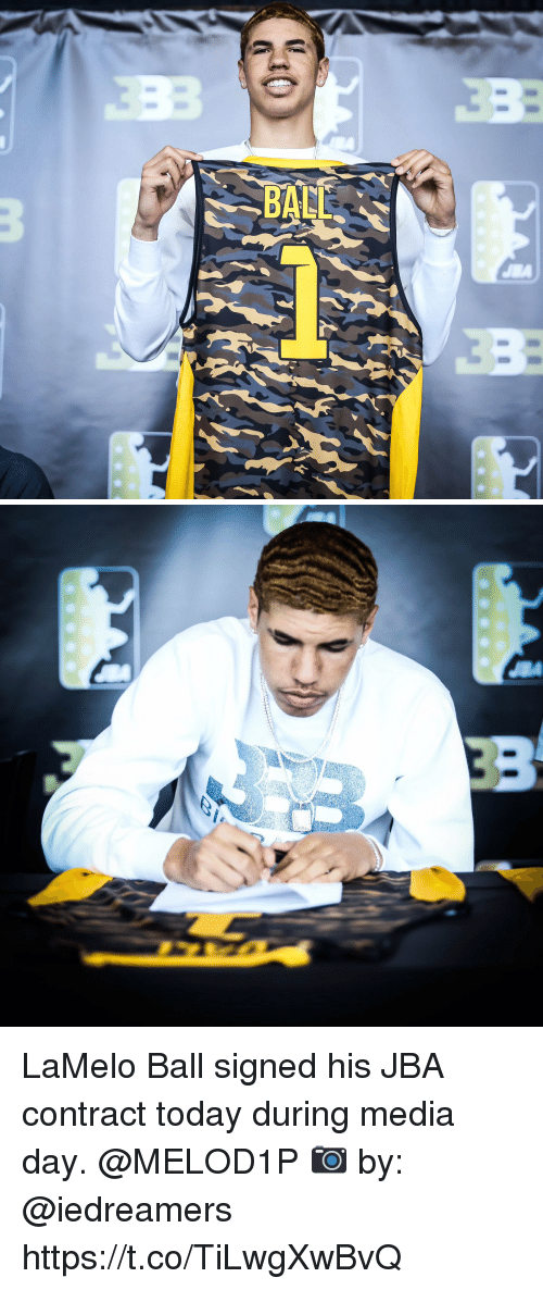 Memes, Today, and 🤖: LaMelo Ball signed his JBA contract today during media day. @MELOD1P 📷 by: @iedreamers https://t.co/TiLwgXwBvQ