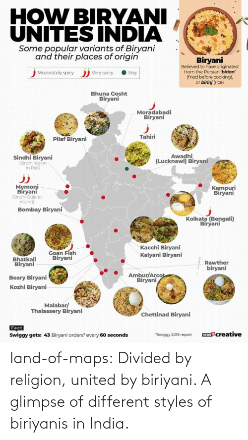 India: land-of-maps:  Divided by religion, united by biriyani. A glimpse of different styles of biriyanis in India.