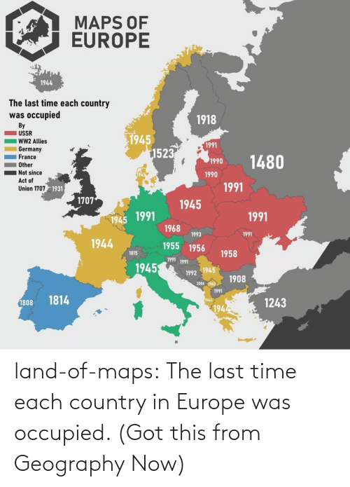 last time: land-of-maps:  The last time each country in Europe was occupied. (Got this from Geography Now)