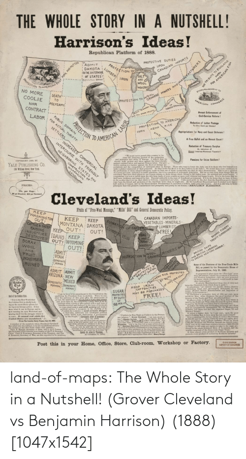 Land: land-of-maps:  The Whole Story in a Nutshell! (Grover Cleveland vs Benjamin Harrison) (1888) [1047x1542]