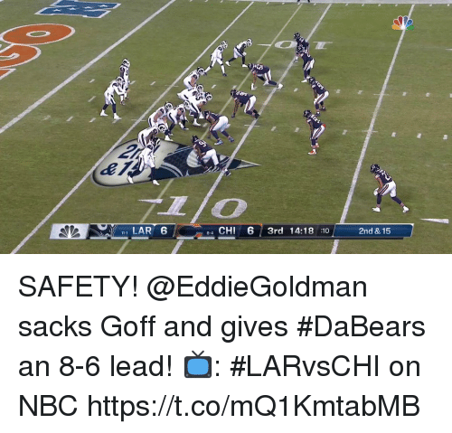Memes, 🤖, and Nbc: , LAR 6  4 CHI 6 3rd 14:18 10  2nd & 15  11-1  8-4 SAFETY!  @EddieGoldman sacks Goff and gives #DaBears an 8-6 lead!  📺: #LARvsCHI on NBC https://t.co/mQ1KmtabMB