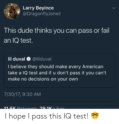 Dude, Fail, and Lil Duval: Larry Beyince  @DragonflyJonez  This dude thinks you can pass or fail  an IQ test.  lil duval @lilduval  I believe they should make every American  take a IQ test and if u don't pass it you can't  make no decisions on your own  7/30/17, 9:30 AM I hope I pass this IQ test! 🤓