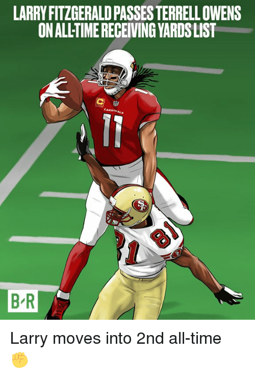 Larry Fitzgerald, Time, and Terrell Owens: LARRY FITZGERALD PASSES TERRELL OWENS  ON ALLTIME RECEIVING YARDSLIST  B R Larry moves into 2nd all-time ✊