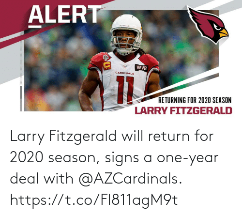 signs: Larry Fitzgerald will return for 2020 season, signs a one-year deal with @AZCardinals. https://t.co/Fl811agM9t