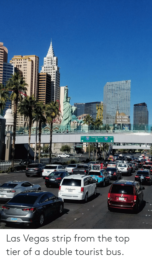 Tourist: Las Vegas strip from the top tier of a double tourist bus.