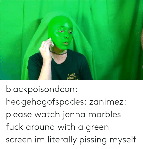 green screen: LAST  MINUTE blackpoisondcon:  hedgehogofspades: zanimez: please watch jenna marbles fuck around with a green screen im literally pissing myself
