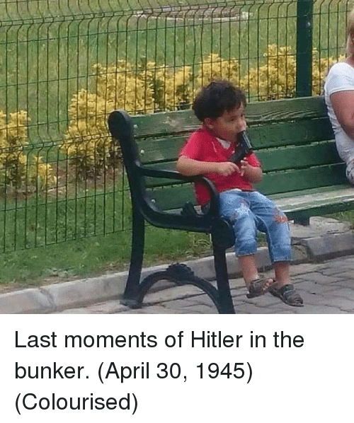 Hitler, April, and Bunker: Last moments of Hitler in the bunker. (April 30, 1945) (Colourised)