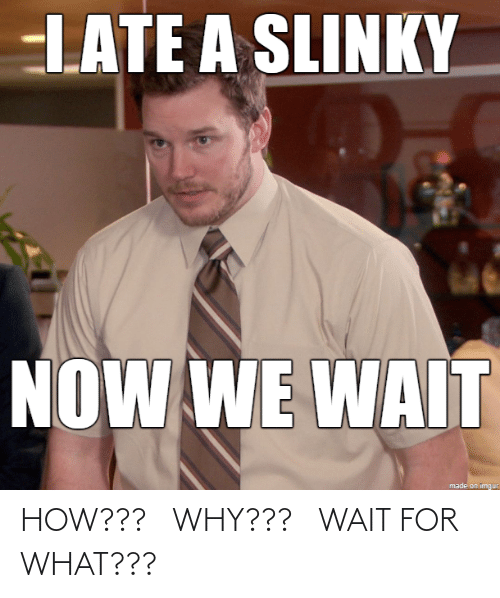 Imgur: LATE A SLINKY  NOW WE WAIT  made on imgur HOW??? WHY??? WAIT FOR WHAT???