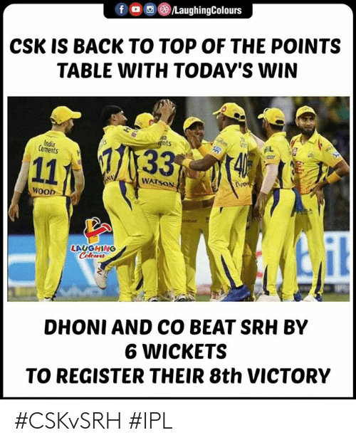 Indianpeoplefacebook, Back, and Ipl: ()/LaughingColours  f  CSK IS BACK TO TOP OF THE POINTS  TABLE WITH TODAY'S WIN  ts  Cements  WATSON  WOOD  LAUGHING  DHONI AND CO BEAT SRH BY  6 WICKETS  TO REGISTER THEIR 8th VICTORY #CSKvSRH #IPL