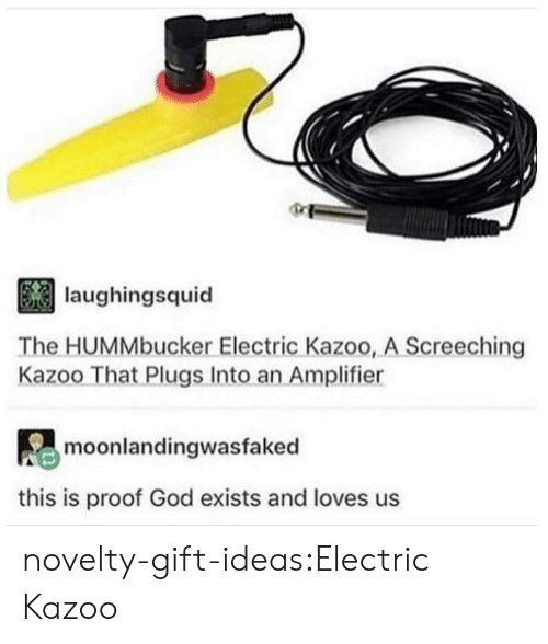 God, Tumblr, and Blog: laughingsquid  The HUMMbucker Electric Kazoo, A Screeching  Kazoo That Plugs Into an Amplifier  moonlandingwasfaked  this is proof God exists and loves us novelty-gift-ideas:Electric Kazoo
