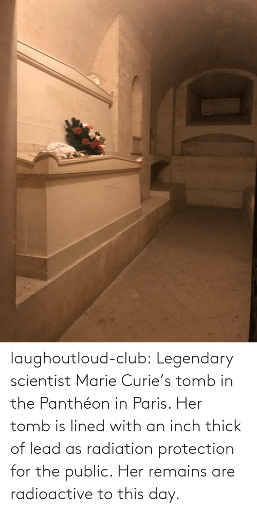 Paris: laughoutloud-club:  Legendary scientist Marie Curie's tomb in the Panthéon in Paris. Her tomb is lined with an inch thick of lead as radiation protection for the public. Her remains are radioactive to this day.
