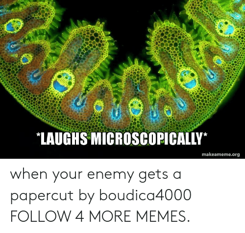 Laughs Microscopically: LAUGHS MICROSCOPICALLY  makeameme.org when your enemy gets a papercut by boudica4000 FOLLOW 4 MORE MEMES.